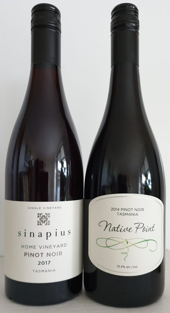 2017 Sinapius Home Vineyard Pinot Noir, $55 (1 x bottle) & 2014 Native Point Pinot Noir, $40 (1 x bottle)