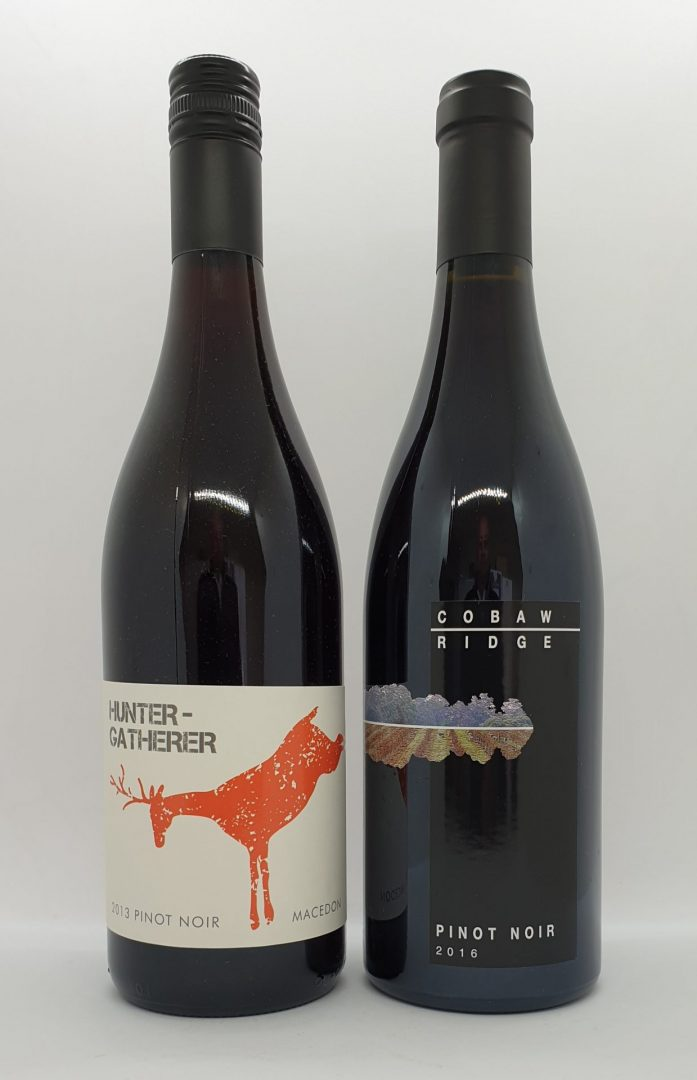 November 2020 Releases: Hunter Gatherer 2013 Macedon Pinot Noir $40 & 2016 Cobaw Ridge Pinot Noir $55